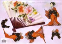 3D Embossed Decoupage Papers - Oriental Lady & Fan