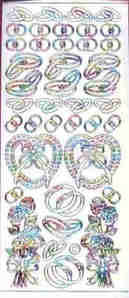 Wedding Rings White/Multi Peel Off Stickers
