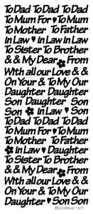 Peel Off Stickers - Mum/Dad etc..