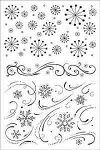 Hero Arts - Clear Design Acrylic Stamps - Snowflake Backgrounds