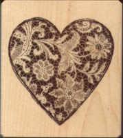Inkadinkado Lace Heart Rubber Stamp