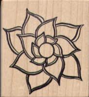 Magenta Rubber Stamp - Flower Head