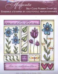 Magenta Self-cling Rubber Stamp Set - Invitation