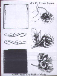 River City Rubber Works Flower Square Clear Stamp Set