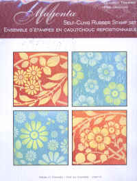 Magenta Self-cling Rubber Stamp Set - Floral Panels