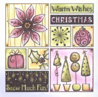 Magenta Self-cling Rubber Stamp Set - Snow Much Fun