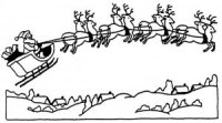 Santa with Sleigh Wood Mounted Rubber Stamp