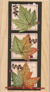 Stamps Happen Fall Leaves Wood Mounted Rubber Stamp