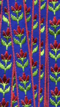 Embroidered Ribbon - Dark Blue Floral