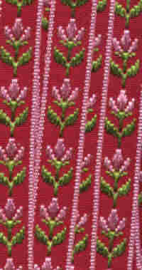 Embroidered Ribbon - Red Floral