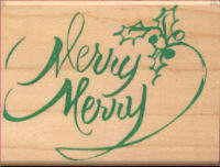 Wood Mounted Rubber Stamp - Merry Merry