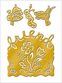 All Night Media Brass Embossing Stencil With Charms - Friends & Flowers