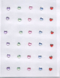 Self Adhesive Gems - Multicolored Hearts