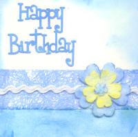 Handmade Birthday Card - Female Blue Floral