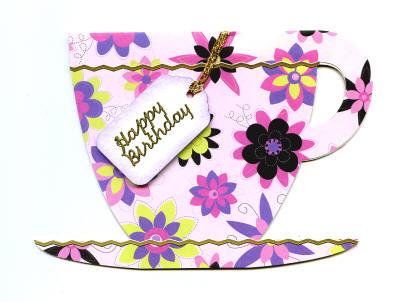 Handmade Birthday Card - Pink Teacup