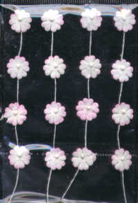 Self Adhesive Paper Flowers - Pink/White - Small