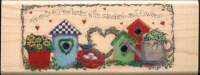 Inkadinkado Rubber Stamp - Friends Birdhouses