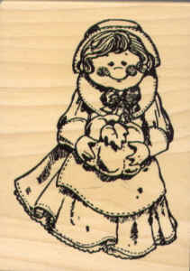 Wood Mounted Girl with Pumpkin Rubber Stamp