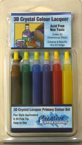 3D Crystal Lacquer Paint Primary Colours Set