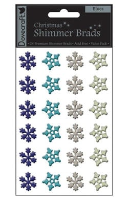 Dovecraft Shimmer Brads - Snowflakes Blues