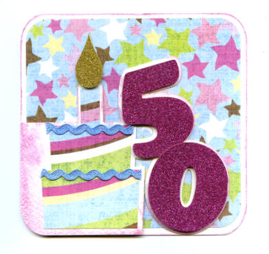 Handmade Birthday Card - 50th Birthday Cake