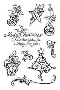 Stampendous Perfectly Clear Christmas Holly Unmounted Rubber Stamp Set