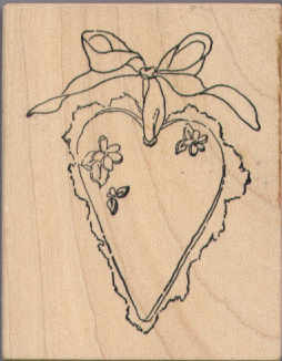 Stampa Rosa Rubber Stamp - Heart with Ribbon