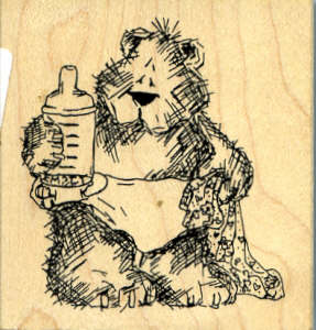 Teddy with Baby Bottle Wood Mounted Rubber Stamp