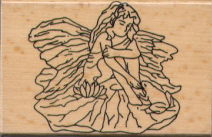 Rubber Stamp - Fairy On A Lily Pad