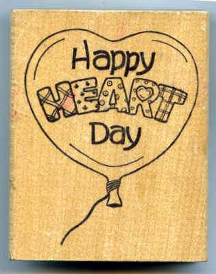 Darcie's Country Folk Happy Heart Day Balloon Rubber Stamp