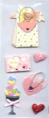 Card Embellishments - Teddy & Hearts