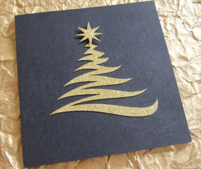card zig zag tree gold