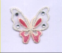 Iron on Motif - Butterfly - Pink & White