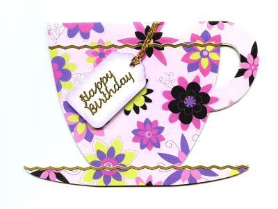 handmade card tea cup pink