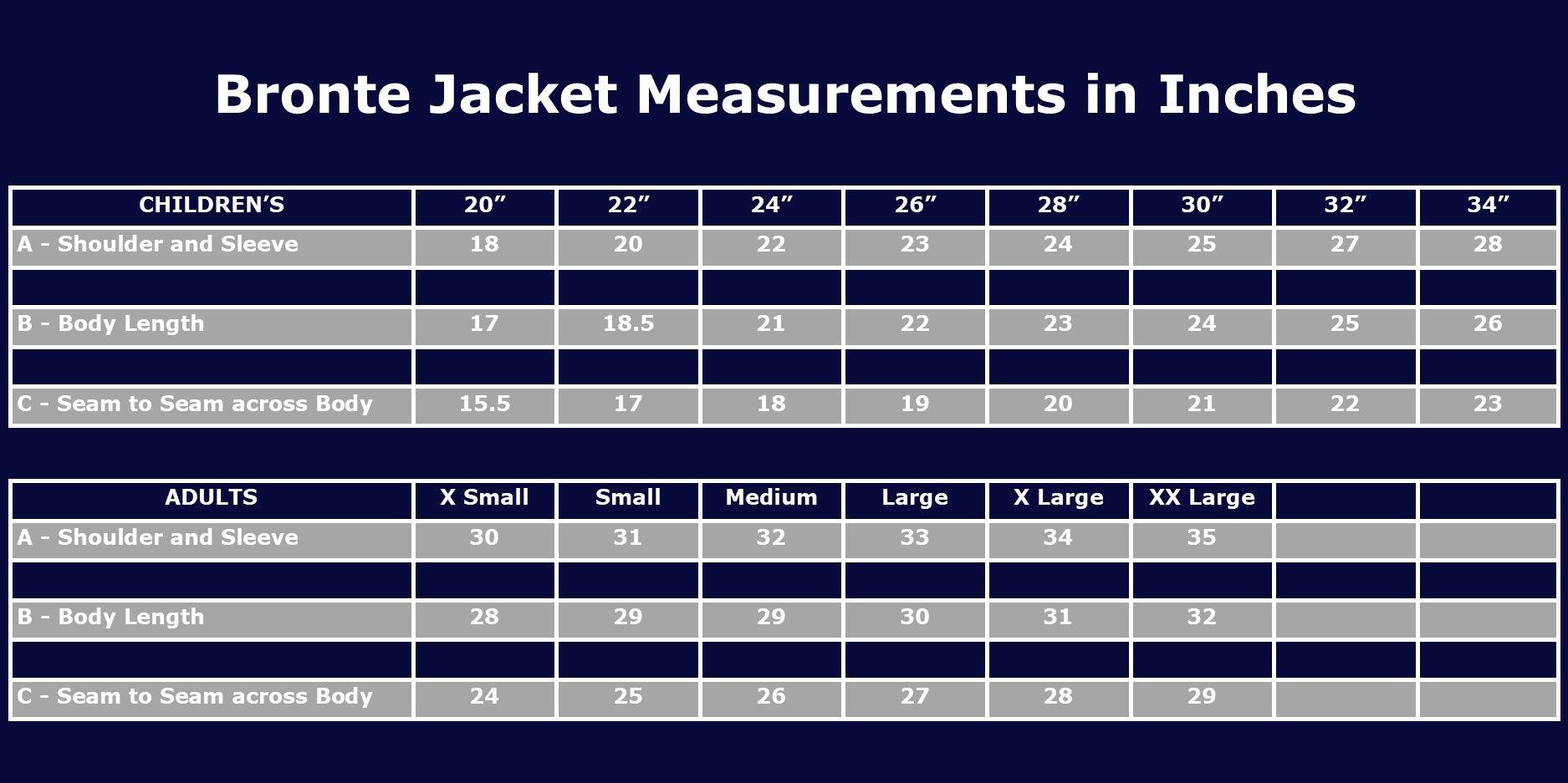 Bronte Jacket Size Chart