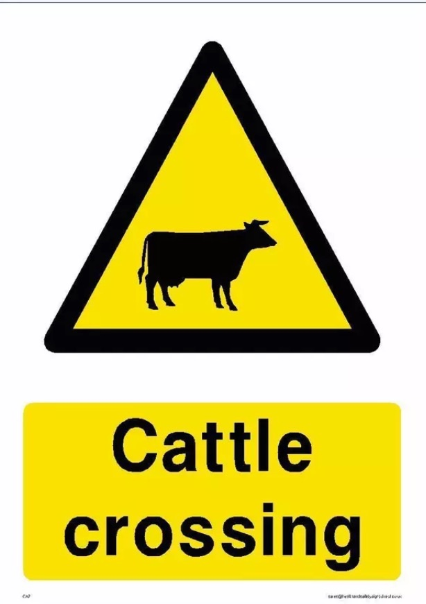 SLOW CATTLE CROSSING WARNING SIGN