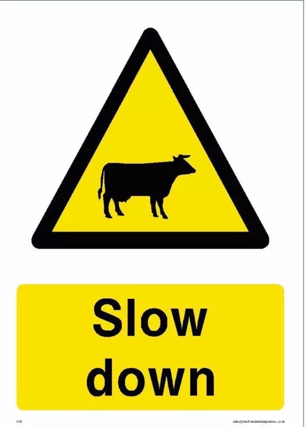 SLOW CATTLE WARNING SIGN