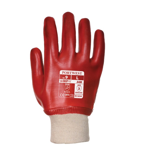 Portwest® A400 PVC Knitwrist, Red (102-5568RD)