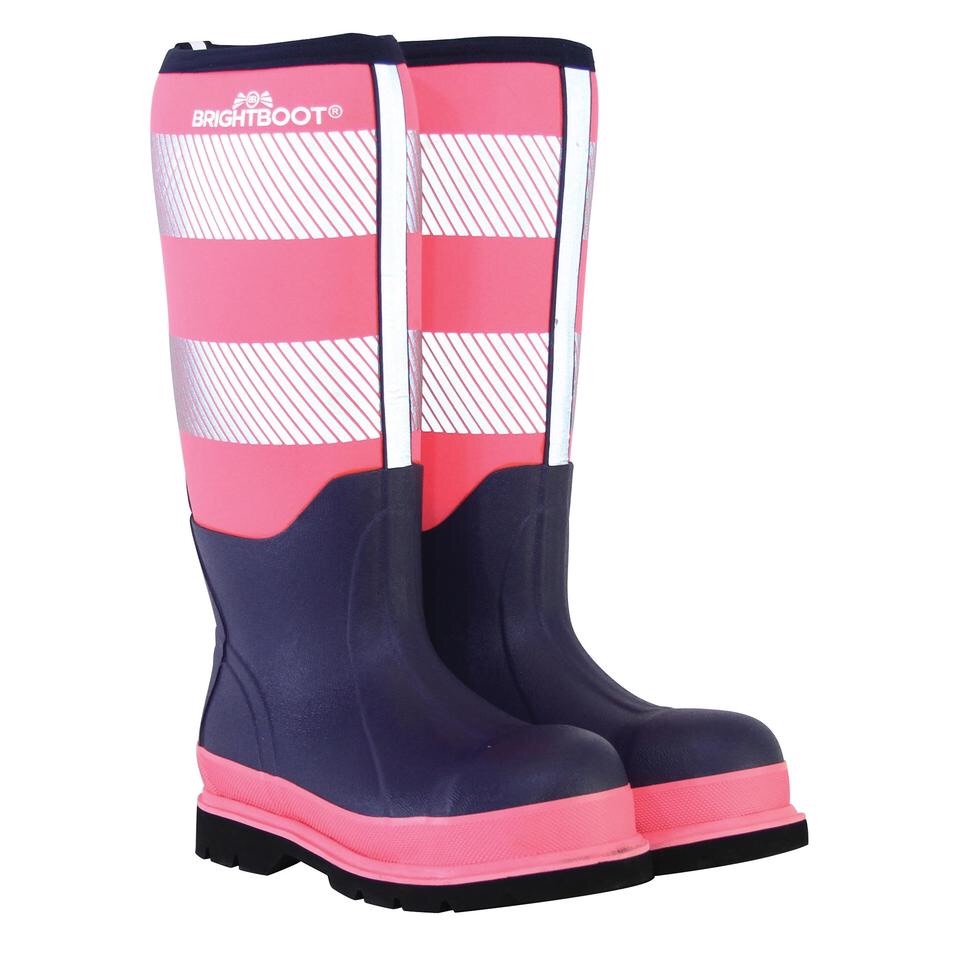 BRIGHTBOOT TALL HI-VIS  SAFETY WELLINGTON - PINK