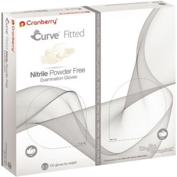 Cranberry USA Curve Fitted Nitrile Powder Free Exam Gloves,White (Pk100)