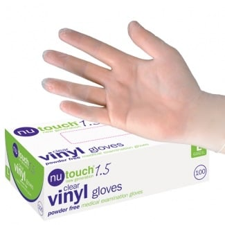 Nutouch 1.5 Medical Powder Free (100) Disposable Clear Vinyl Gloves  (G1621)