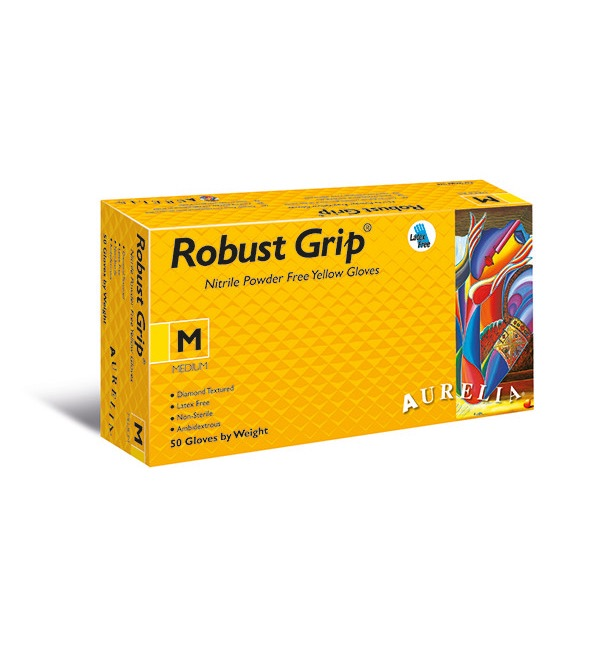 Aurelia® Robust Grip® Powder Free Diamond Textured Nitrile Gloves, Yellow (