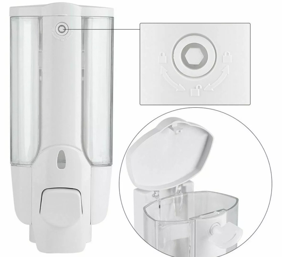 SOAP DISPENSER 350ml WALL MOUNTED - White