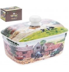 FINE CHINA FARMYARD BUTTER DISH