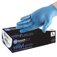 Nutouch 4.0 Powder Free Disposable Blue Vinyl Gloves