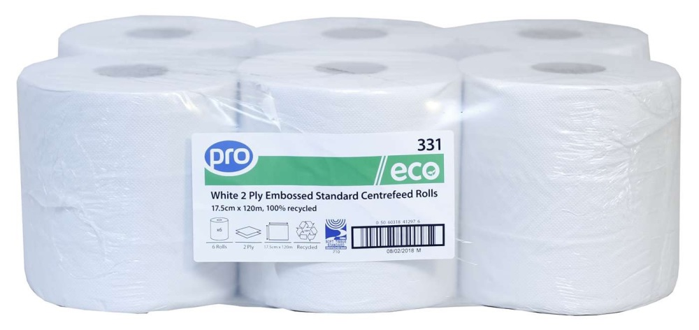 PRO White 2 Ply Centrefeed Roll 18cm x 120m #order item
