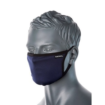 PORTWEST CV33 - 3-Ply Anti-Microbial Fabric Face Mask -Navy (1pk)