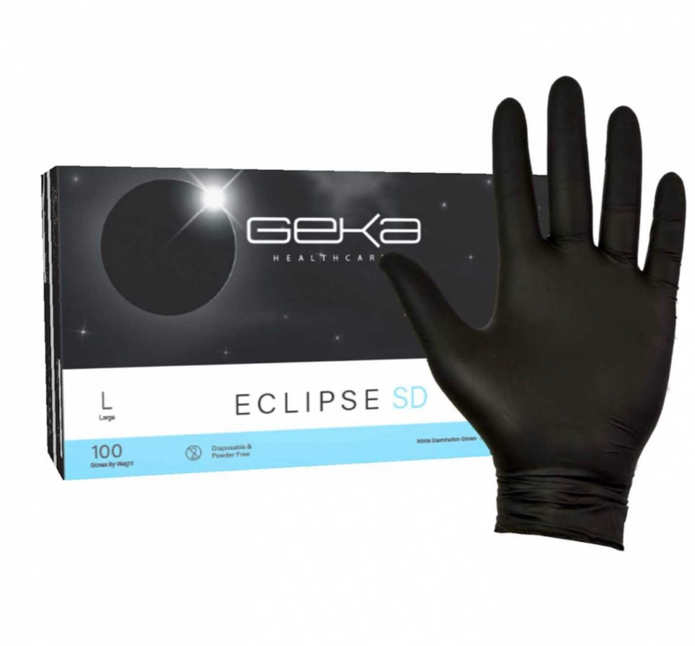 Geka Eclipse SD Black Nitrile Gloves  (case 10x100) #order item