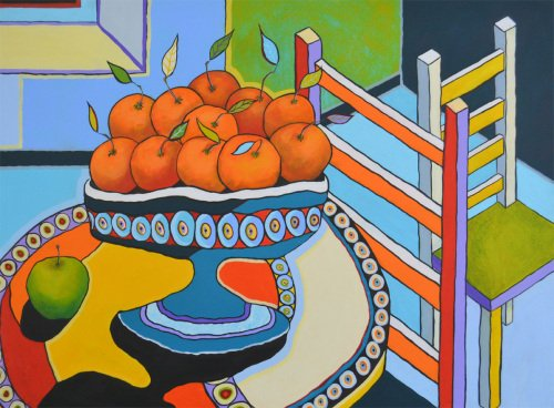 Still Life with Oranges and Chairs - Large Original Abstract Still Life Pai