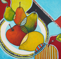 Three Pears, Two Apples and a Lemon - Original Abstract Still Life Painting on Canvas